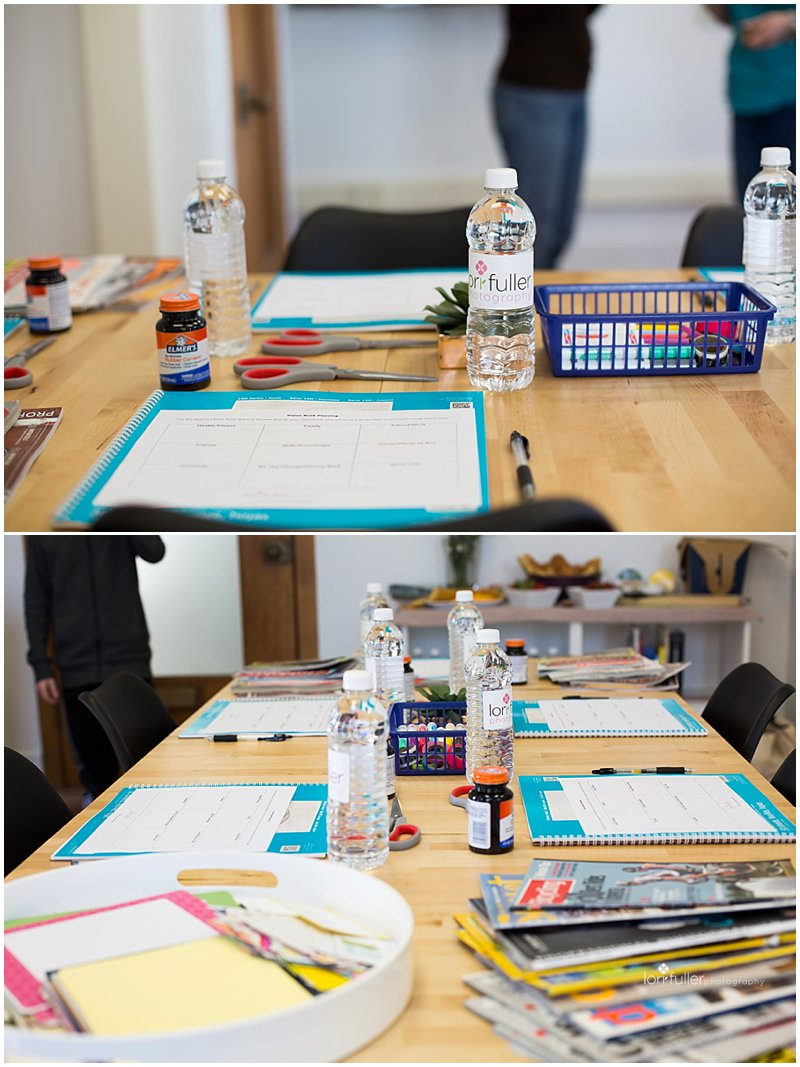 Table set with vision book workshop supplies