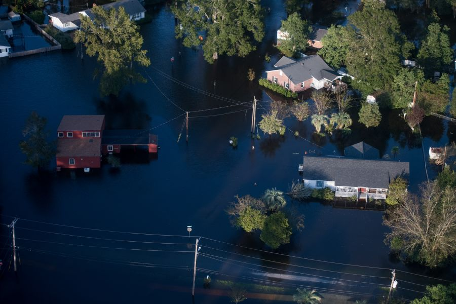 Homes are surrounded by floodwaters from Hurricane Florence on Monday in Conway, South Carolina. Photo by Sean Rayford/Getty Images