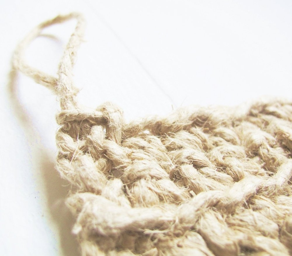 Scouring Pad / Dishcloth - crotcheted from 100% hemp, plastic free + zero waste . Image by   lastingthings
