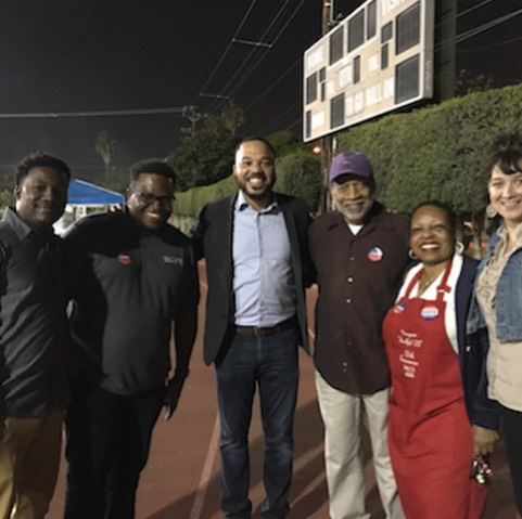 We had a great time and turn out at our #votetogether #inglewoodvotes party at the polls! 🎉 More than 350 folks came out to eat delicious food by @richeeze , Ana's Pupusas, hot dogs grilled up by Inglewood School Board President Margaret Evans, and snacks provided by @thisbarsaveslives , @sietechips , and Team Friday. . Our friends at @radiofreekjlh brought the music, free haircuts provided by @questcutz, and healthy eating cookbooks and snacks by @sjli . Thanks to our partners at @sjli, sponsors and school board members Margaret Evans and Dr D'Artagnan Scorza , @upliftinglewood @votetogetherusa and the team at @teamfridayla. Thank you to @jenisicecreams for treats. . Looking forward to a bigger party in 2020! 🎉