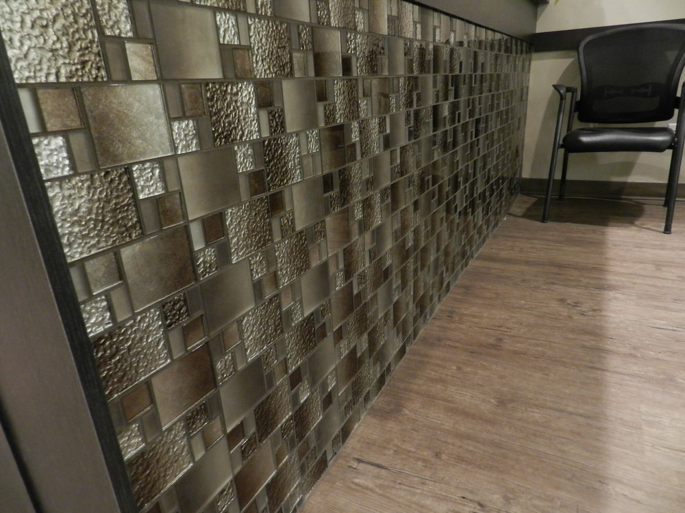 An eye catching mosaic is a great way to bring customers in. Interior design can communicate a lot about your business. We wanted to show something interesting, clean and contemporary to highlight this business.