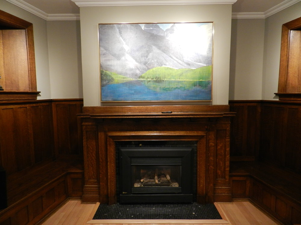 Finished fireplace surround and hearth.