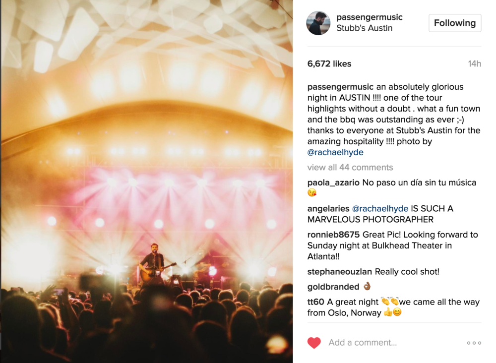 Passenger Instagram Account