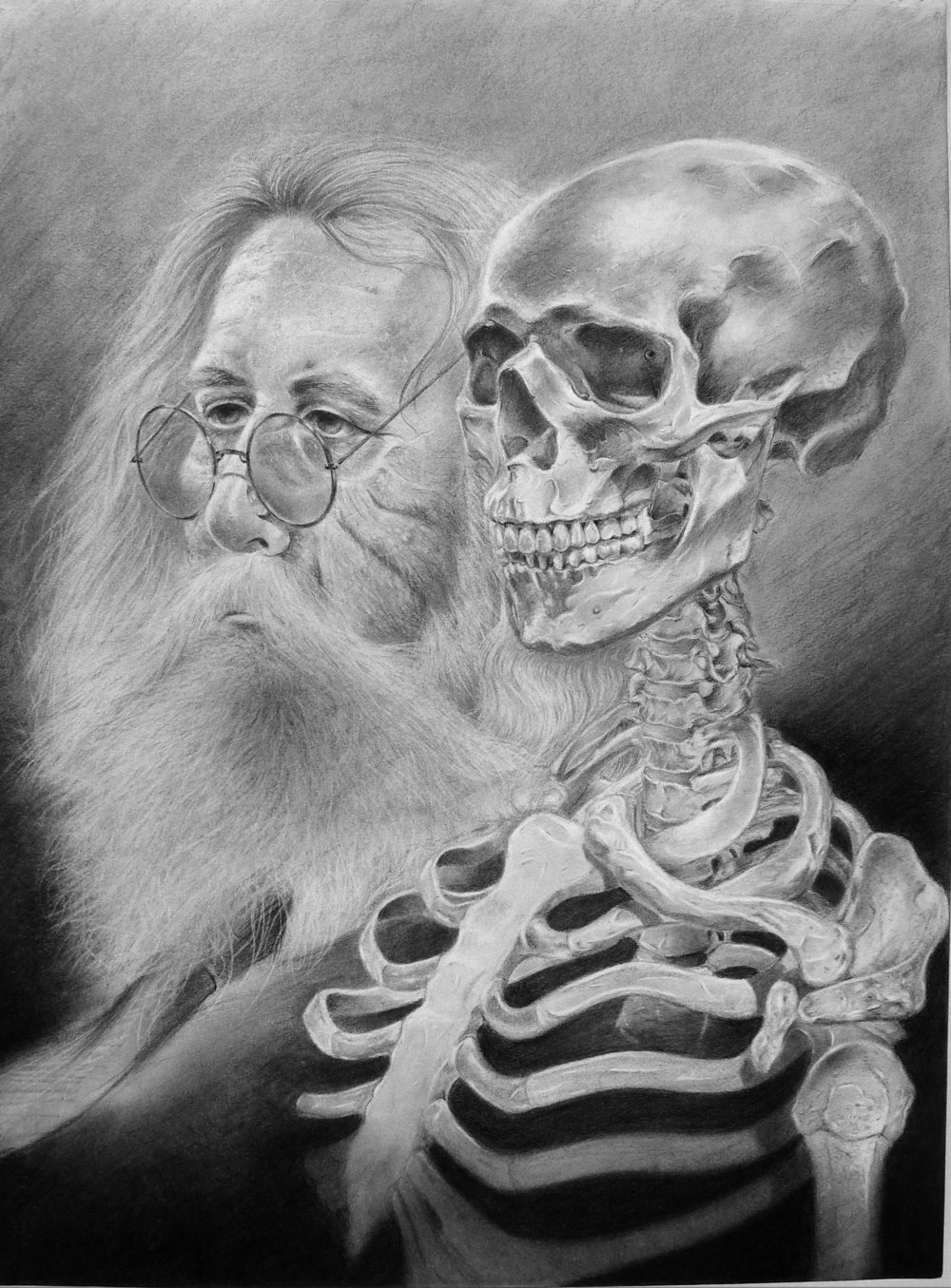 Henry & Skeleton, graphite on paper, 18 x 24 inches, 2015 copy.jpg