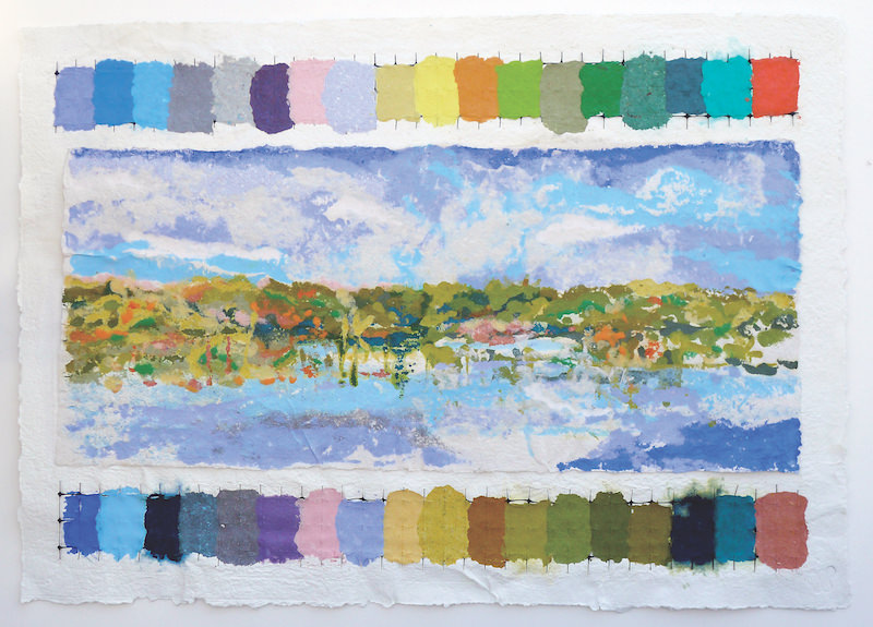 Wendy Shalen,  Fall Reflections , 2016. Pigmented paper pulp and vinyl, 25 x 35 in.