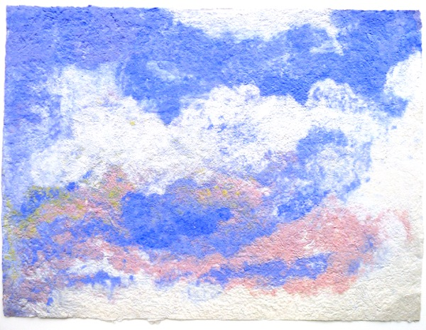 Wendy Shalen,  Cloudscape , handmade pigmented cotton pulp, 30 x 40 in.