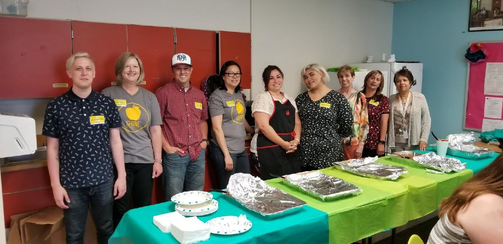 Shine volunteers from Mosaic Church host a staff appreciation luncheon for Mary Ann Binford Elementary