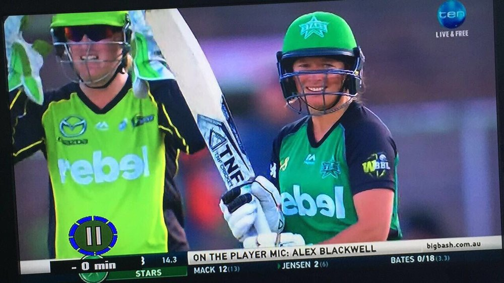 Star Hayley Jensen with her White Diamond during BBL02
