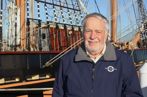 Newport Biodiesel Chairman Robert Morton alongside SSV Oliver Hazard Perry (photo courtesy OHPRI)