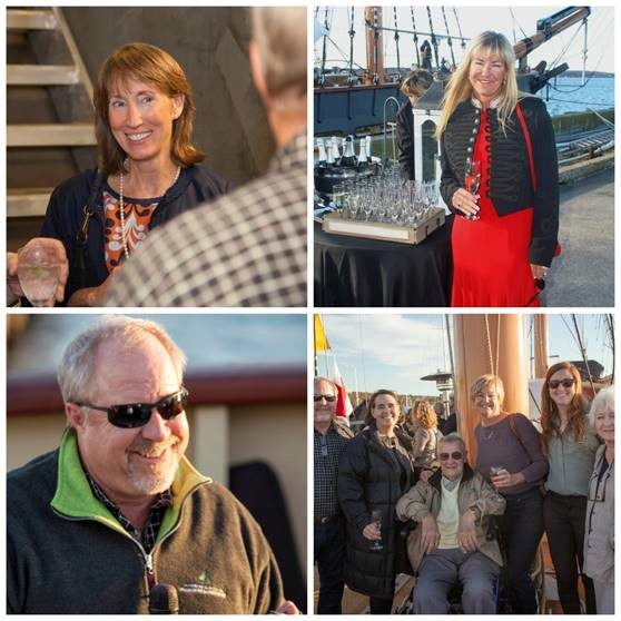 (Clockwise from left) Karen Kelly Shea of Nicholson Yachts (credit Nonni Sansoucy); Heather Haibt of Denver (credit OHPRI), Jim Van Winkle and Winkle's family with Wagner (credit Nonni Sansoucy)