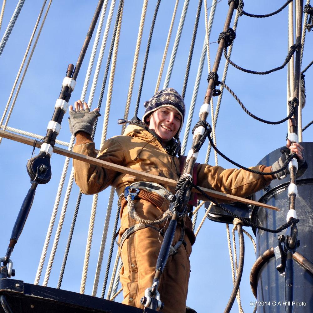 A crew member aloft (Carol Hill, 2014)