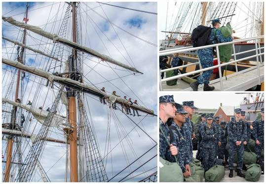 NAPS Midshipman candidates aloft and aboard SSV  Oliver Hazard Perry  in 2017. (left photo: credit Nancy Bloom, right photos credit: Barby MacGowan/OHPRI)  Available for download in high resolution by clicking the photo