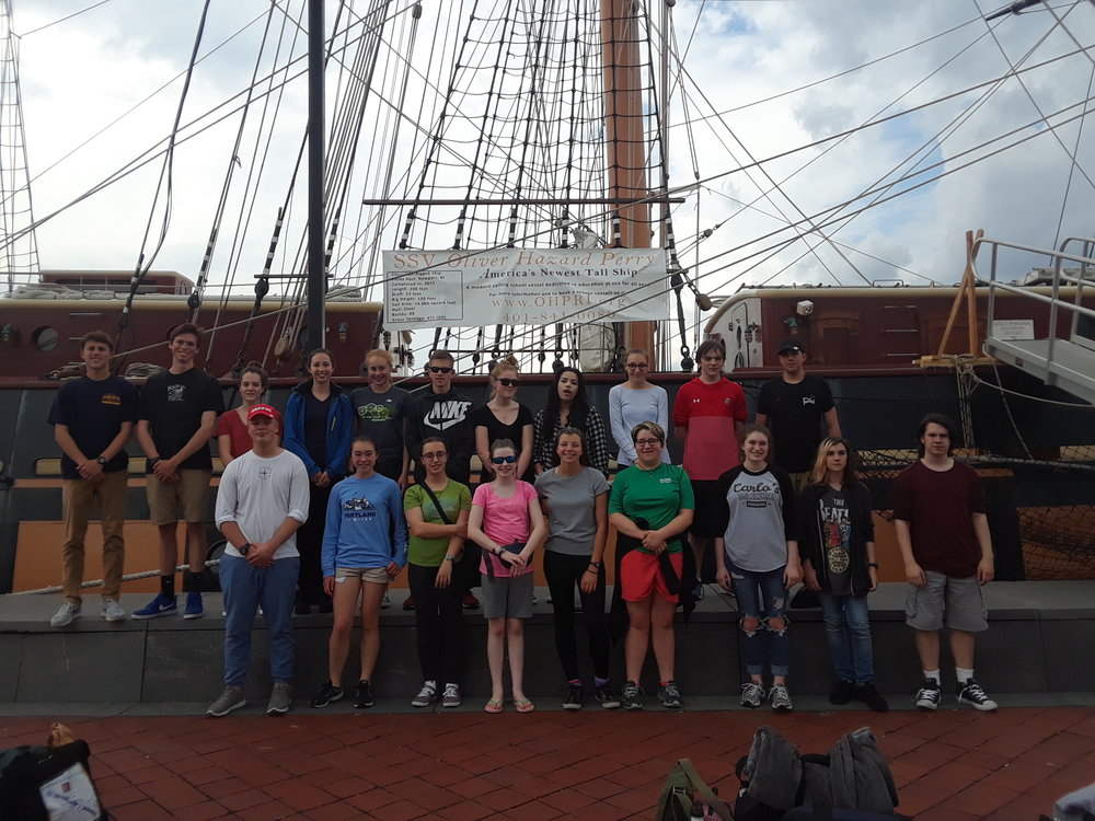 Aquidneck Island Schools student trainees gather before their 2018 educational voyage aboard SSV  Oliver Hazard Perry  (photo courtesy OHPRI)  Available for download in high resolution by clicking the photo