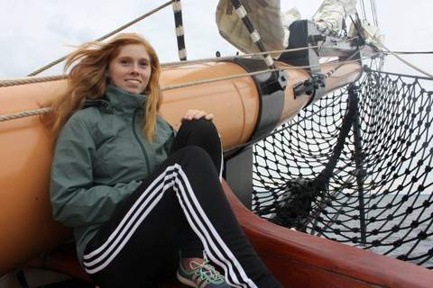 ANNEKA PETERSON  8/3/16: The first time that I got into sailing was when I was eight and I was hooked ever since. Tall ships have always caught my eye because I really love to challenge myself and climb to new heights, literally. One of the first experiences that I had aboard the Oliver Hazard Perry was climbing on the bowsprit. The person in front of me was hesitant to climb all the way out so I went in front of him. I soon realized that this was a horrible idea, but I still got enough courage to go all the way out (40 feet above the water). See, the trick is that you don't look down, then you're fine. By the end of it I was really enjoying the wind in my hair and leaning back in my harness with no worries. Now, every chance I get, I climb up the rigging or the bowsprit as much as I possibly can.