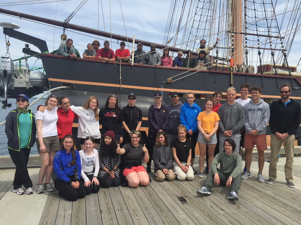 With the crew behind them, Aquidneck Island Schools student trainees gather on the dock after their 2018 educational voyage aboard SSV  Oliver Hazard Perry  (photo courtesy OHPRI)  Available for download in high resolution by clicking the photo