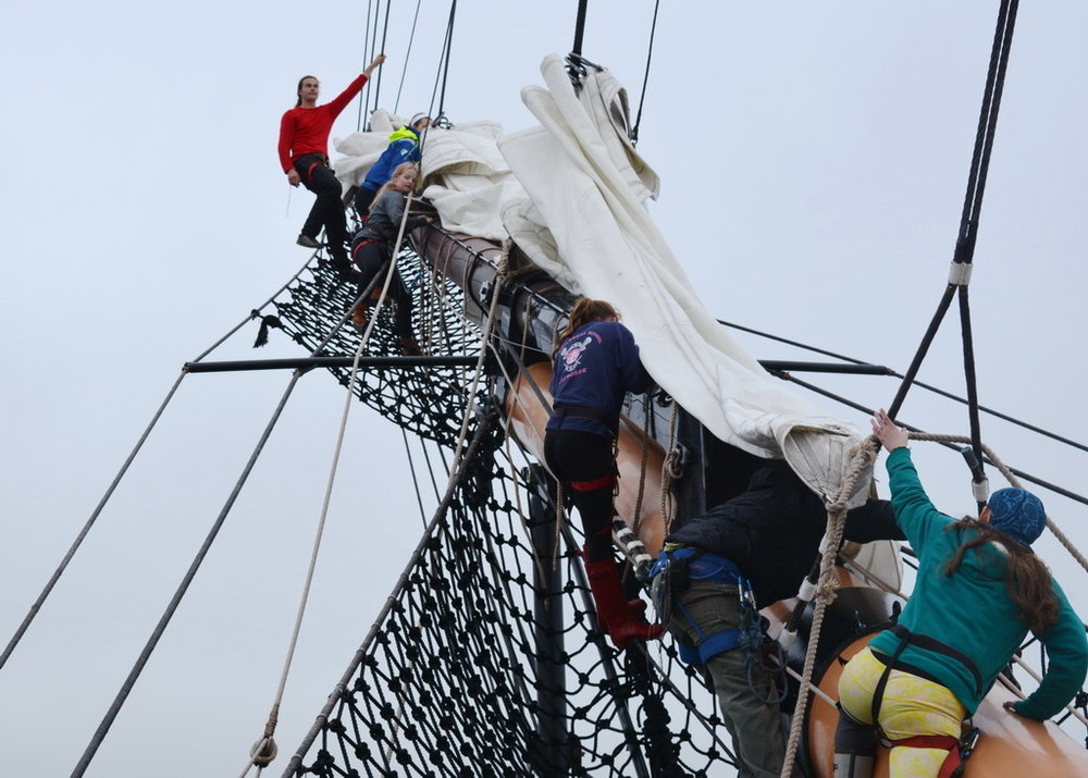 Students from Rogers High School in Newport aboard SSV  Oliver Hazard Perry  in 2018;