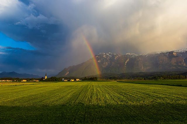 We believed we'd catch the rainbow (2/3)  As life progresses on, you move closer to the end of the rainbow where the pot of infinite gold lie.  #rainbow #gold #leprechuans #beyond #theworldyousee #countryside #rain #photography