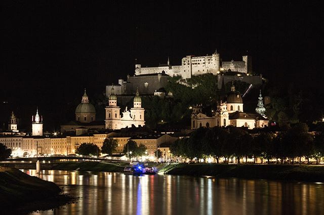 Salzburg by night (1/3)  Weekend getaway to the birthplace of Mozart and the sound of music.  #salzburg #austria #theworldyousee #beyond #moutains #castle #night #photography