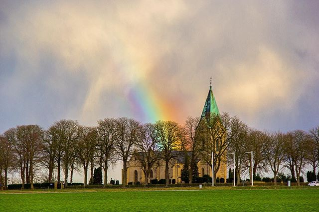 The Swedish Rainbow  There are things that our eyes see better than our cameras. This is one of them.  #sweden #rainbow #beyond #theworldyousee #roadtrip #photography #malmo #copenhagen