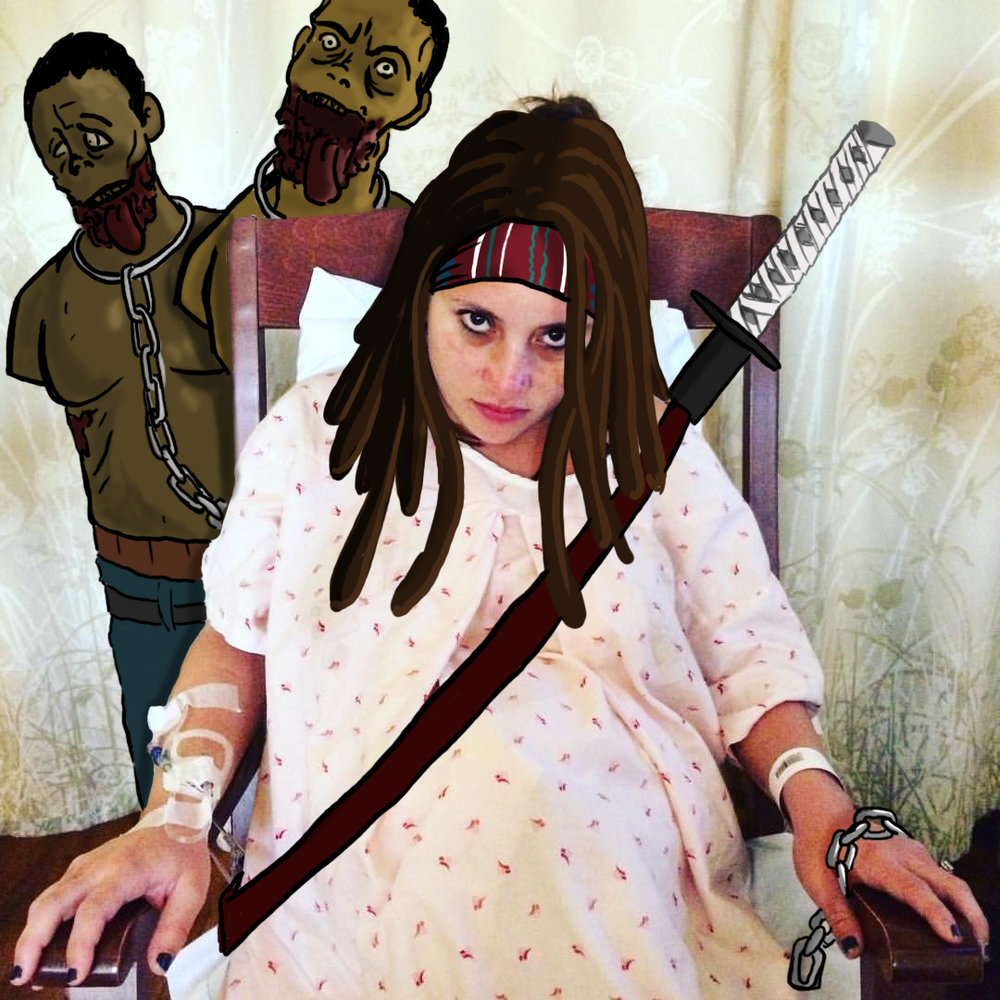 My sister channeling her inner Michonne on her way into the delivery room.