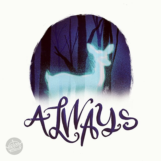 """""""After all this time?"""" I've been wanting to do an HP piece for a really long time. I'm so happy with how this turned out! . . . #illustration #artstagram #procreateapp #always #patronus #harrypotter #snape #wizard #wizardingworld #instagood #artoftheday #gallery #drawing #doodle #draw #instaart #instaartist #doe #animal #spell #magic #fanart #followme #alanrickman"""