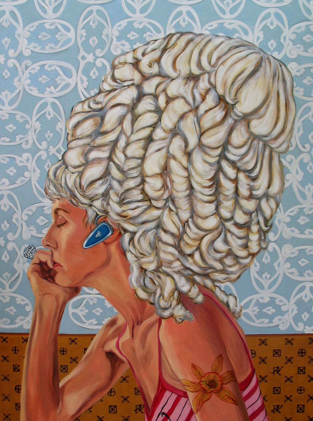 Lady with Bluetooth © 2012 Oil on canvas 60 x 48""