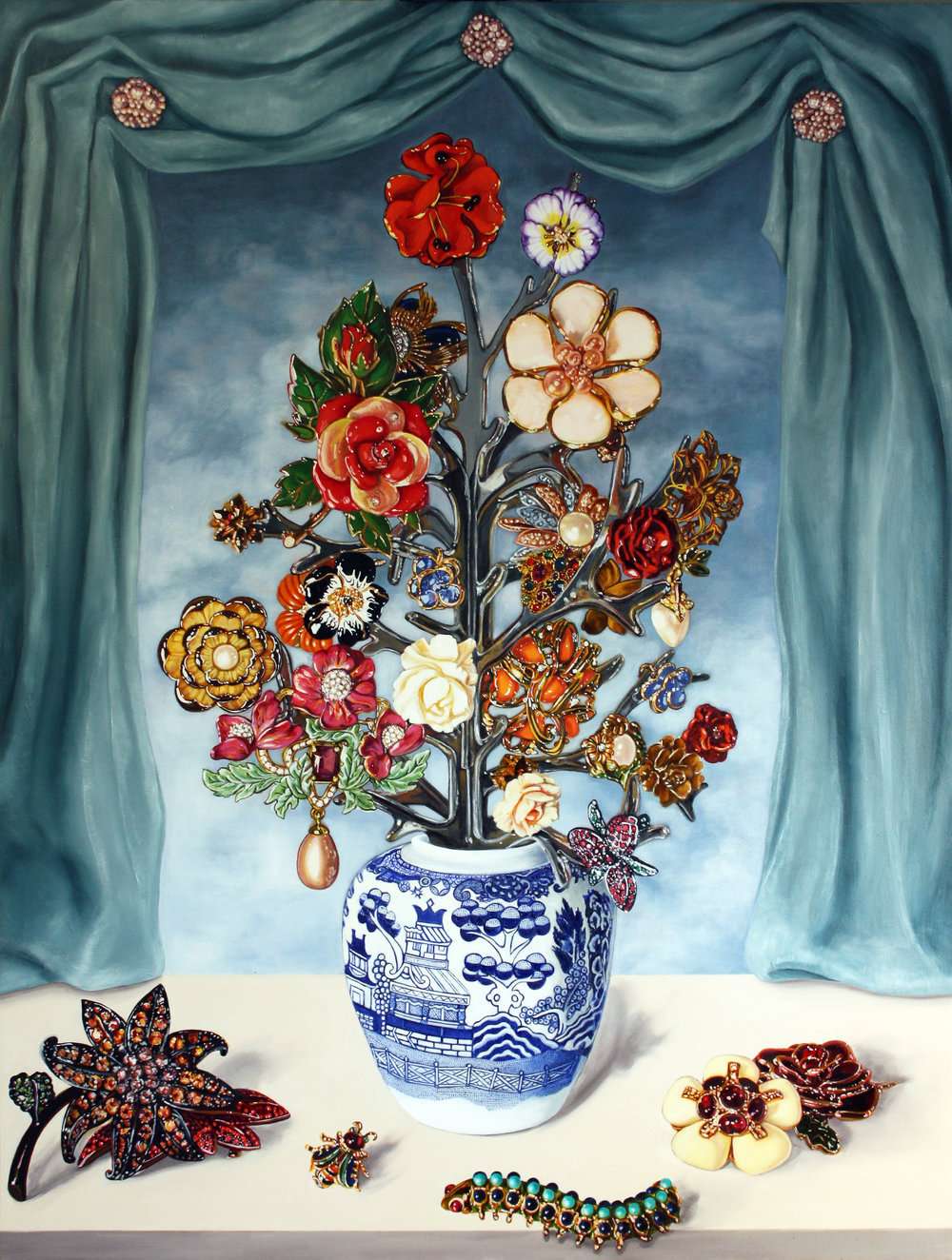 Dutch Floral with Drapery © 2014 Oil on canvas 50 x 38""