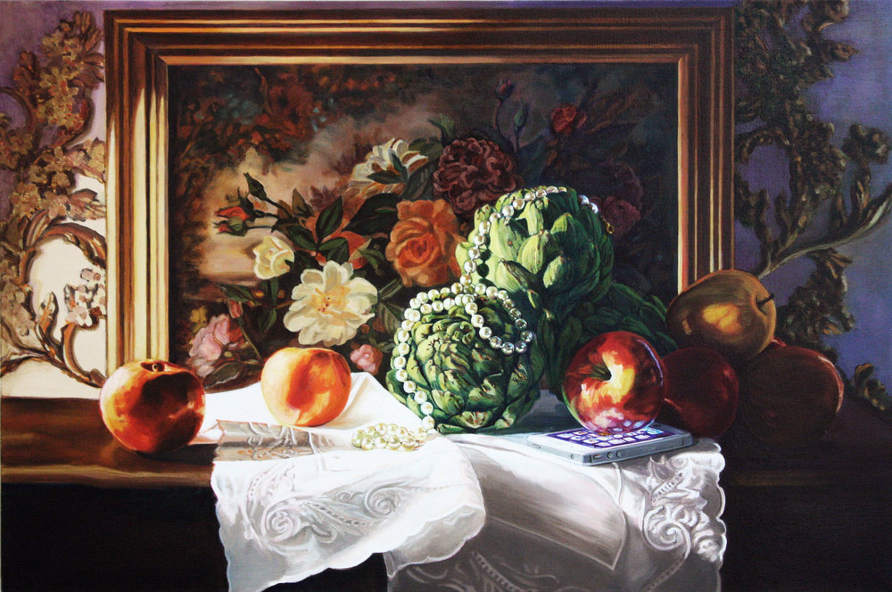 Still Life with Apples and Artichokes © 2013 Oil on canvas 36 x 24""