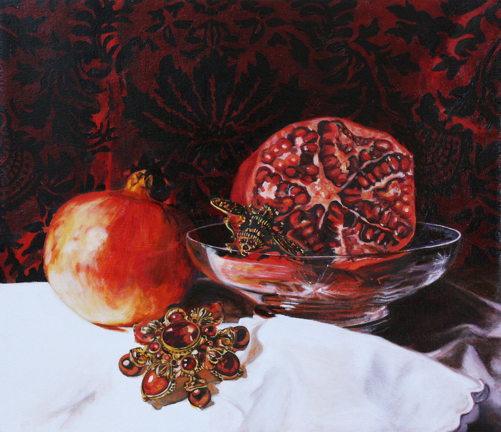 Still Life with Pomegranates © 2013 Oil on linen 12 x 14""