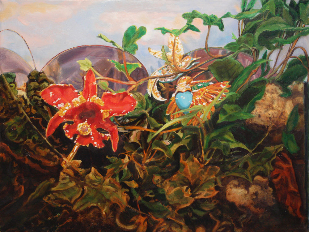 Still Life with Orchid and Hummingbird © 2013 Oil on linen 12 x 16""