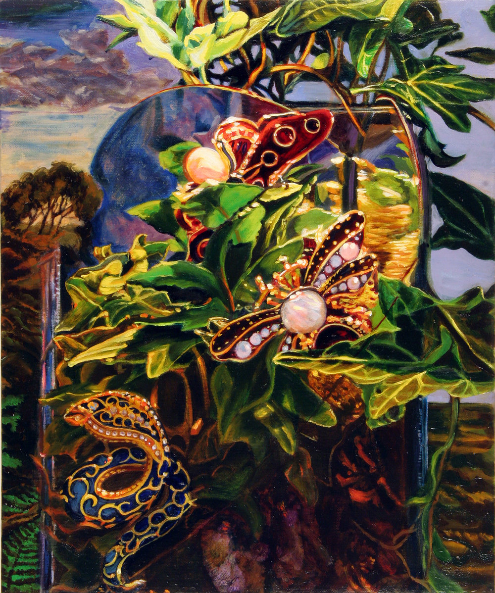 """Still Life with Snake and Butterflies © 2010 Oil on linen 12 x 10"""""""