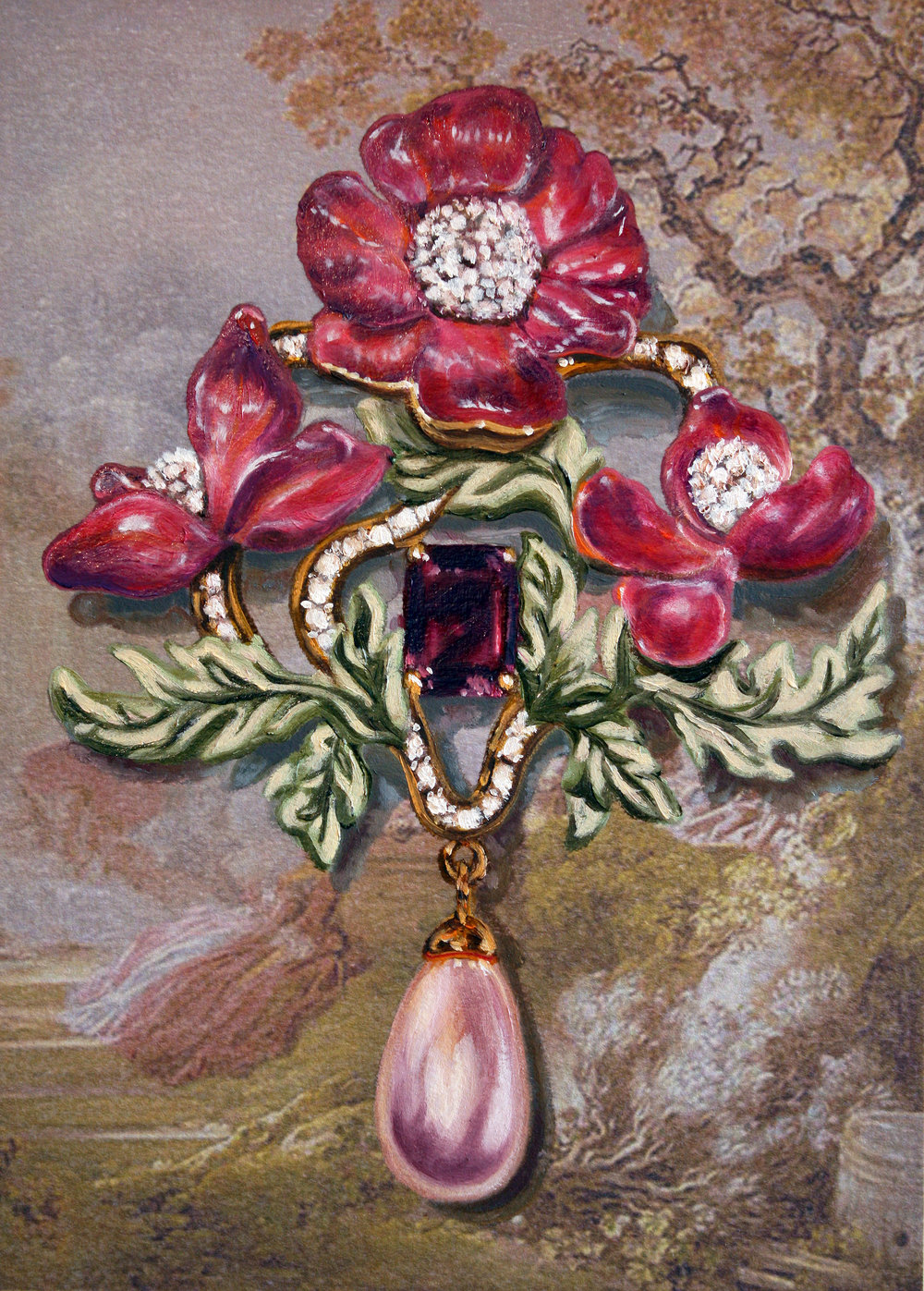 Jewel Portrait Tourmaline © 2016 Oil on unique inkjet printed Arches paper 10.5 x 7.5""