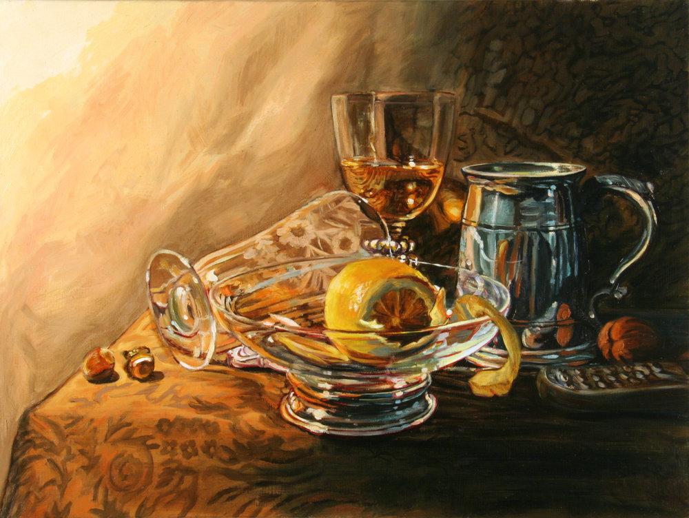 """Still Life with Lemon © 2008 Oil on linen 12 x 16"""""""