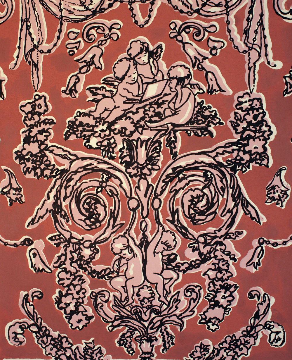 Tech Cherubs (Pink/Coral) © 2011 Silkscreen on paper 25 x 19""