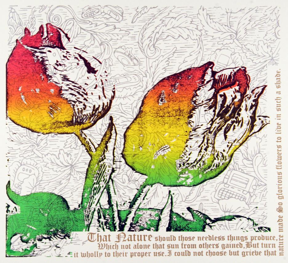 So Glorious Flowers © 2011 Silkscreen on paper 12 x 12.5""