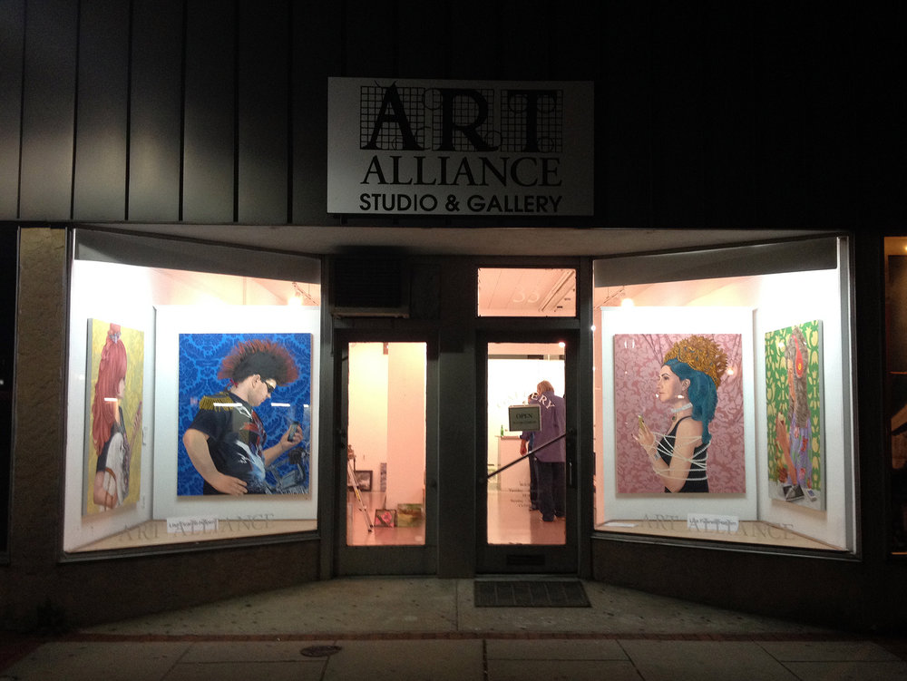 "Art Alliance of Monmouth County's guest juror Lisa Ficarelli-Halpern will be displaying four large portraits from her #BaroqueTechStyle series in the gallery windows for the month of October 2014. The two themes for the October gallery displays juried by Ficarelli-Halpern are ""All Seasons"" and ""3D."" The opening reception will beheld on Saturday, October 4, from 6-8PM, and a cash prize will be awarded for the best in show. The exhibitions will be on view until October 29."