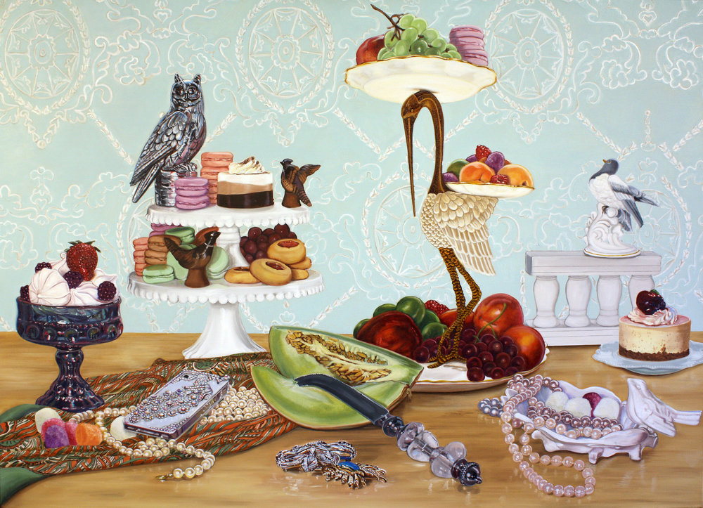 """Still Life with Birds and Desserts,"" ©2015 Lisa Ficarelli-Halpern Solo Exhibition by Lisa Ficarelli-Halpern comprised of over a dozen original paintings, on display May 9 through June 29, 2015 at The Oyster Point Hotel Gallery Space, 146 Bodman Place, Red Bank, tel. 732-530-8200. Artist's Opening Reception May 15th, 7-9 PM"