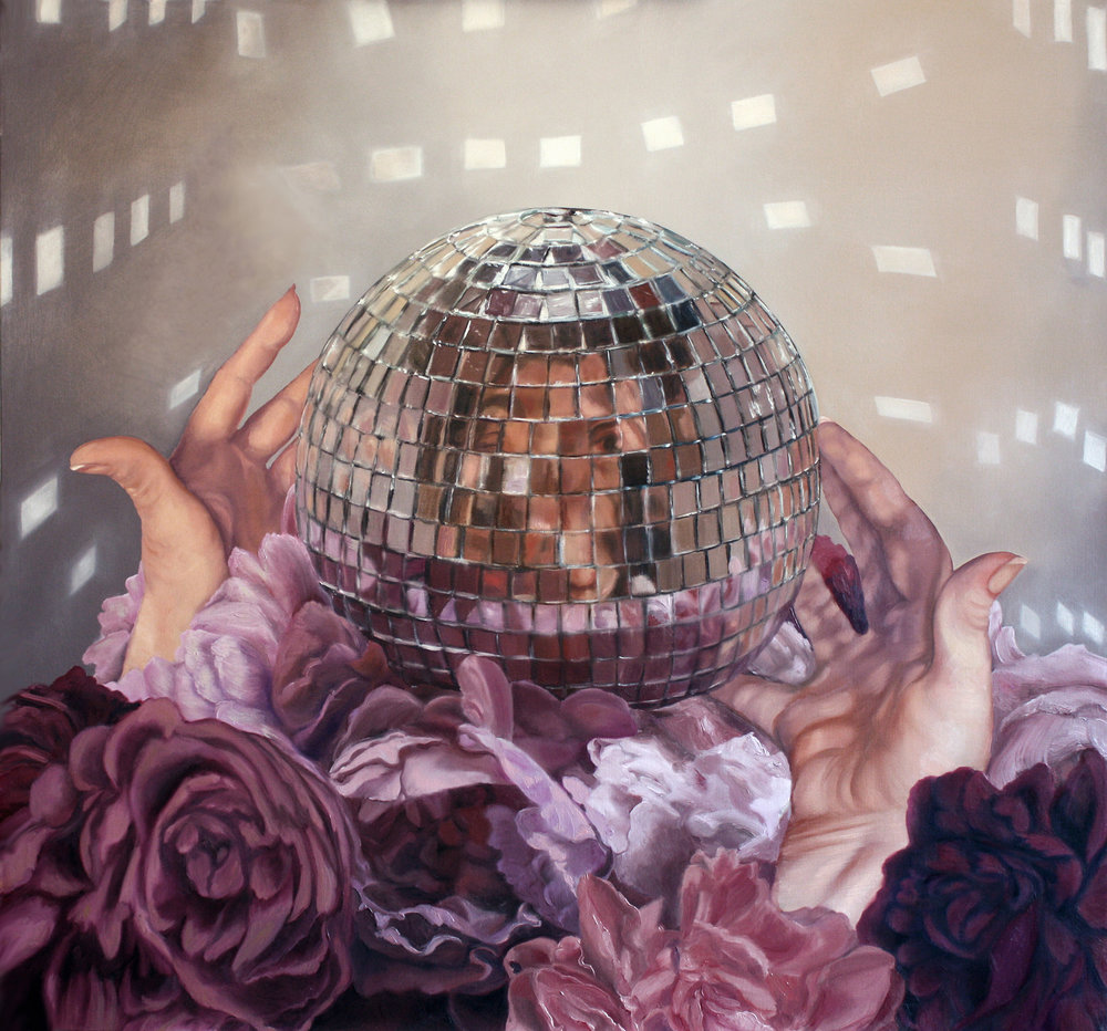 """Self Portrait with Disco Ball and Peonies,"" ©2016 Lisa Ficarelli Halpern"