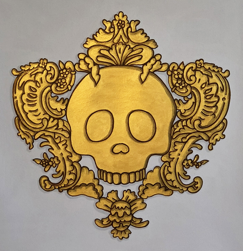 Baroque Emoji Series: Skull ©2018 Gouache, ink, and acrylic on paper Dimensions variable