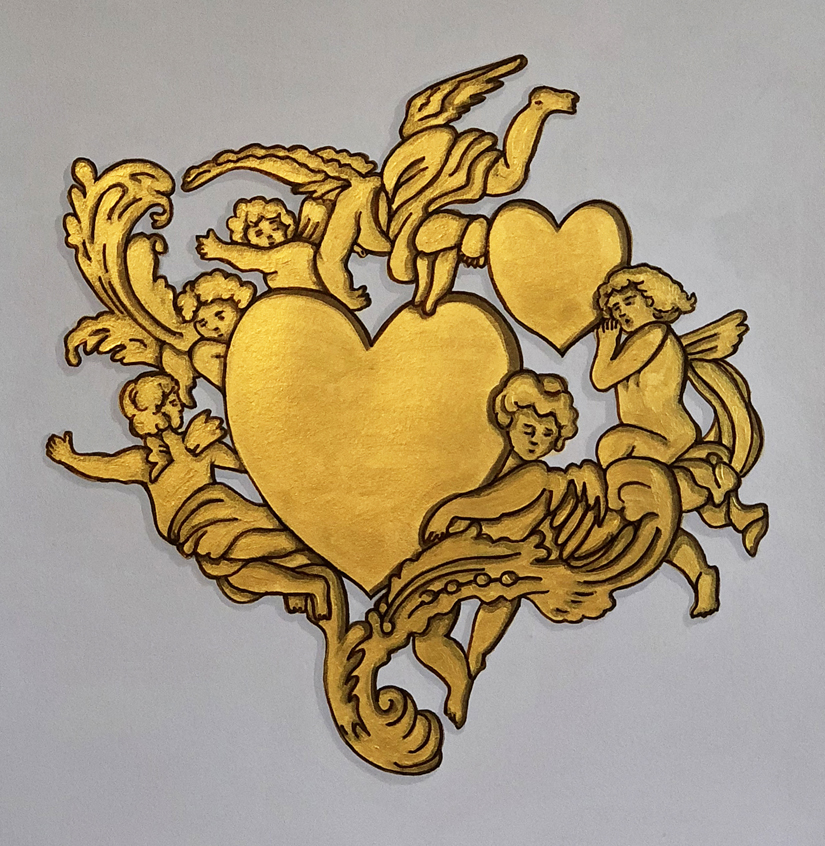 Baroque Emoji Series: Two Hearts ©2018 Gouache, ink, and acrylic on paper Dimensions variable