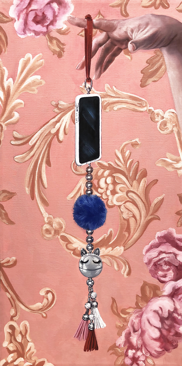 "Dangling Still Life No.1  ©2018 Oil on canvas 24"" x 12"""