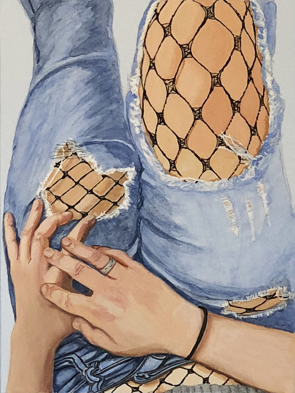 "Fishnets  ©2018 Gouache, watercolor & ink on blue paper 20"" x 16"""