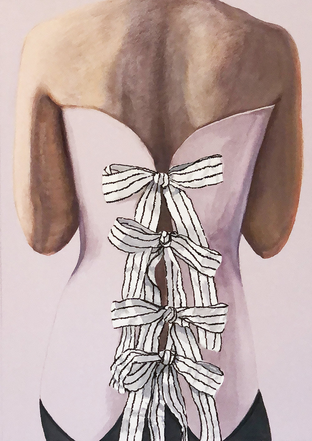 "Lavender Corset  ©2018 Gouache, watercolor, colored pencil & ink on lavender paper 20"" x 16"""