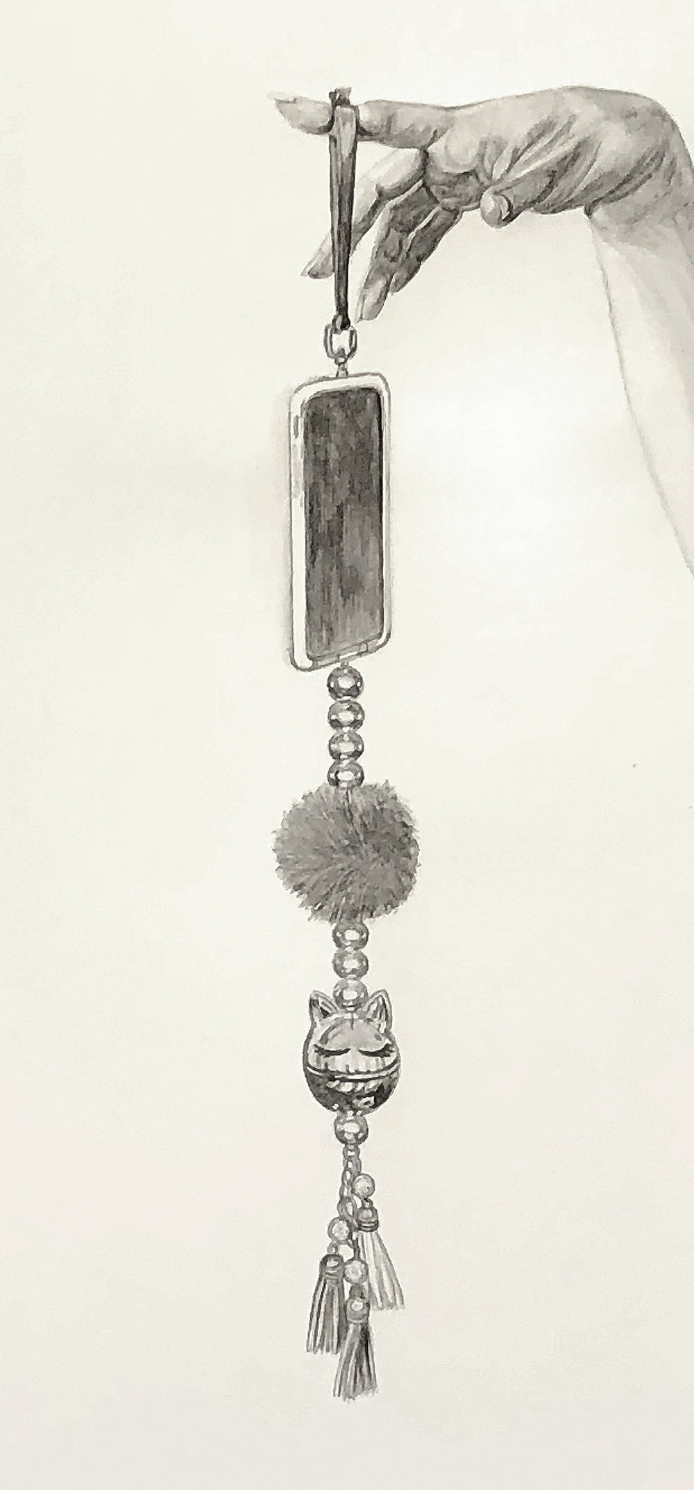 "Study for Dangling Still Life No.1  ©2018 Graphite on paper 25"" x 14.5"""
