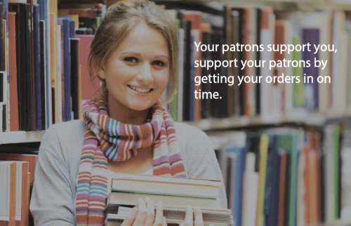 Poster to motivate librarians to order on time