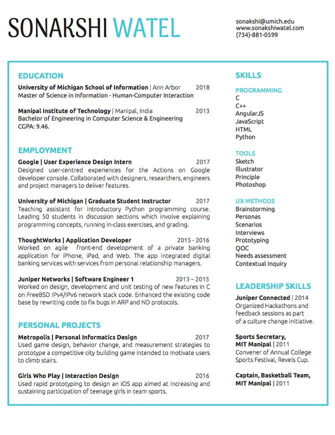 resume sonakshi watel