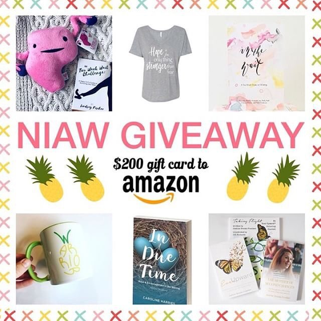 "🍍 It's time for a giveaway to celebrate the kick-off of #NIAW, National Infertility Awareness Week! I've teamed up with some of my favorite infertility instafriends to give YOU the chance to win this amazing prize pack! Who wants the chance to win a $200 Amazon SHOPPING SPREE!? In addition, you have a chance to win a copy of The Two Week Wait Challenge by @lindsaymfischer, In Due Time by @trustinginduetime, In the Wait by @chels819, Ever Upward + The Mother of Second Chances + a Taking Flight coloring journal by @justinefroelker, a Cuterus the Uterus from @lindsaymfischer, a pineapple WARRIOR mug from @journeytothree_ivf, and a ""Hope"" t-shirt by @nine16designs! Wowza! The total value of all of this is over $300! And it could be YOURS! • Here's what you do to enter: 💗 1.  LIKE this image and make sure you follow me, @lindsaymfischer.  2. CLICK on the photo to go to the next account and repeat step 1! Once you get back to me you've completed the loop! (PS - There are only 8 of us which means it's super fast and easy!) 3. TAG at least one friend who may be interested! The more tags, the more entries!  4. BONUS ENTRY: Comment below and share your favorite thing about spring! 💐🌷💐 • Good luck!! • Giveaway will end on Saturday 4/27. Winner will be announced on this post by 4/30. This giveaway is not sponsored or endorsed by Instagram. Must be 18 or older to enter. Open to entrants in the US. • #NIAW • #NIAW2018 •  #flipthescript • #NIAWgiveaway • #giveaway • #ttctribe • #ttccommunity • #infertility • #infertilitywarrior • #infertilitysisters • #infertilitycommunity • #amazon • #amazongiveaway • #inthewait • #induetime • #everupward • #tww • #twoweekwait • #pineappleaddict • #giftcardgiveaway"