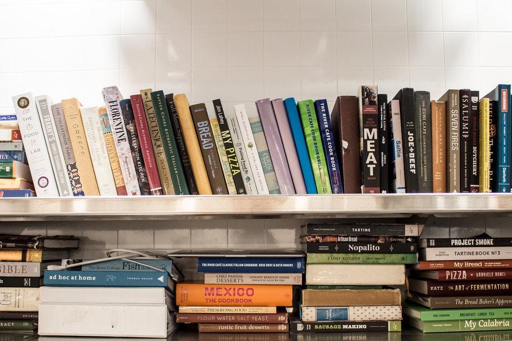 The kitchen library at Philo Ridge Farm.