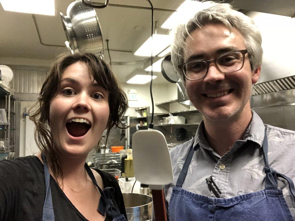 Olivia and Morgan volunteering at 18 Reasons, a San Francisco non-profit.