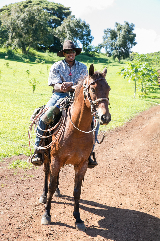 Kapena, a cowboy at Hana Ranch.